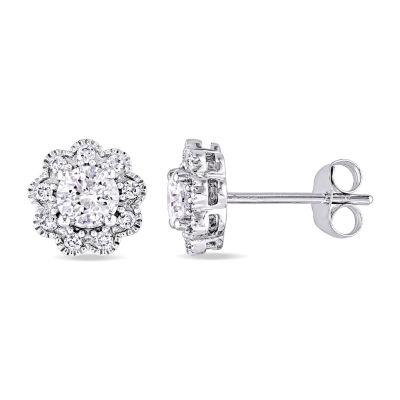 Laura Asley 1 CT. T.W. Genuine White Diamond 10K Gold 8.5mm Stud Earrings