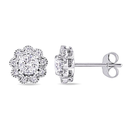 Laura Ashley 1 CT. T.W. Genuine White Diamond 10K Gold 8.5mm Stud Earrings