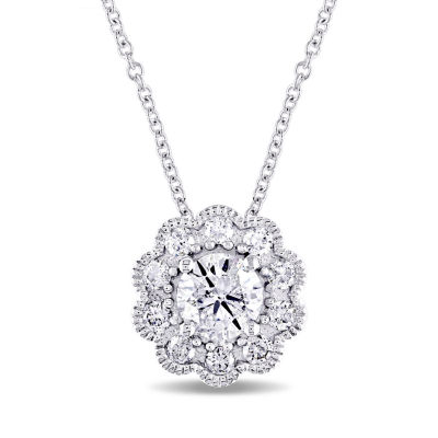 Laura Ashley Womens 3/4 CT. T.W. Genuine White Diamond 10K Gold Pendant Necklace
