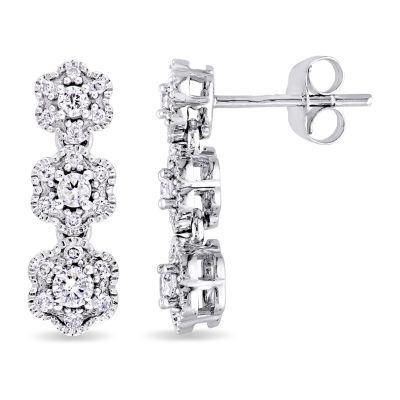 Laura Ashley 1/2 CT. T.W. Genuine White Diamond 10K Gold 17.9mm Stud Earrings