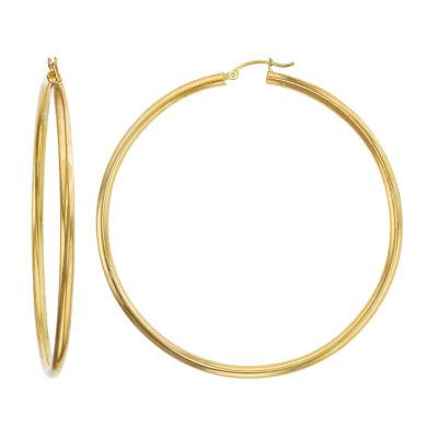14K Gold 80mm Hoop Earrings