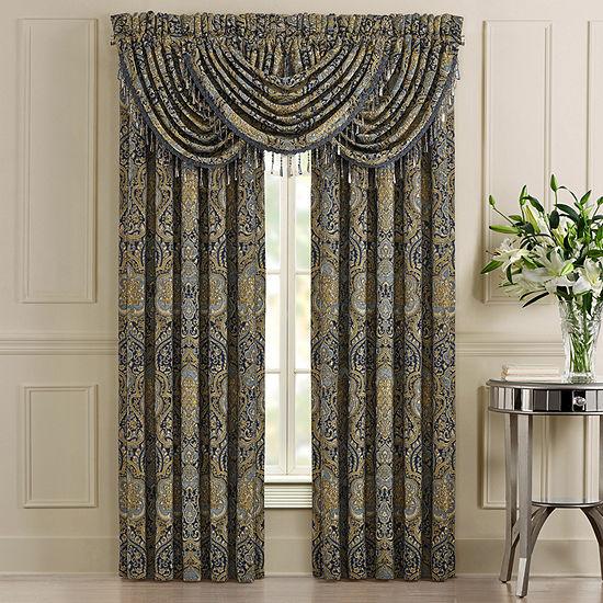 Five Queens Court Palmer Rod-Pocket 2 Pair Curtain Panels