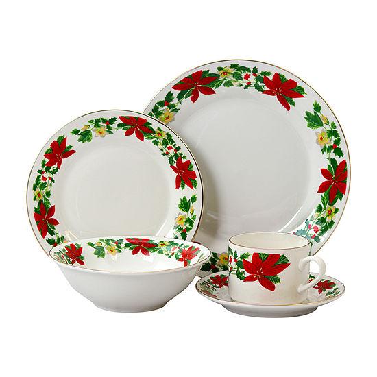 Poinsettia Holiday 20 Pc Dinnerware Set - Rim Decorated - Fine Ceramic