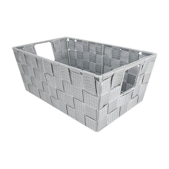 Home Basics Small Polyester Woven Strap Open Bin