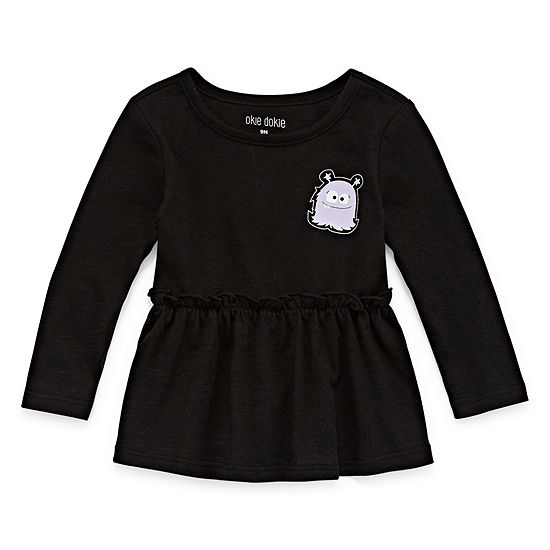 Okie Dokie Girls Round Neck Long Sleeve Peplum Top - Baby Baby 0-24 Mos