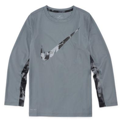 Nike Long Sleeve Round Neck T-Shirt - Big Kid Boys