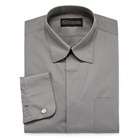 Damante Modern Mens Spread Collar Long Sleeve Dress Shirt