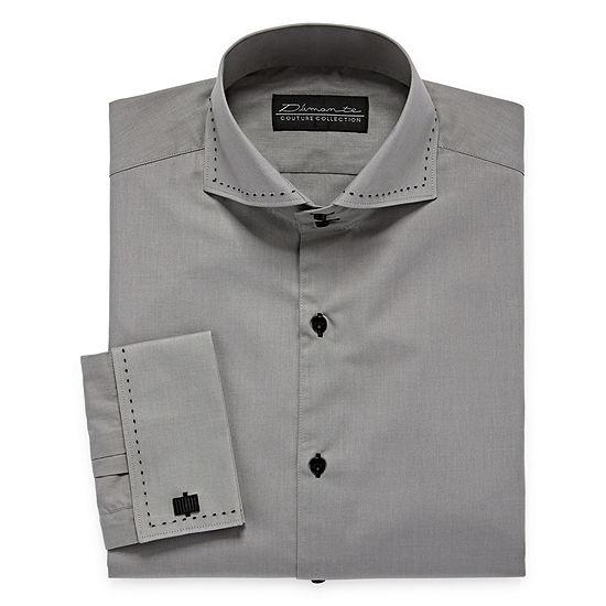 Damante Contrast Stitching On Mens Spread Collar Long Sleeve Dress Shirt