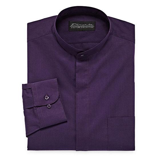 Damante Mens Banded Collar Long Sleeve Dress Shirt Big And Tall