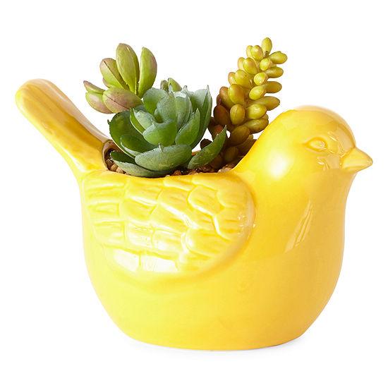 JCPenney Home Shelf Sitting Succulent Bird Figurine