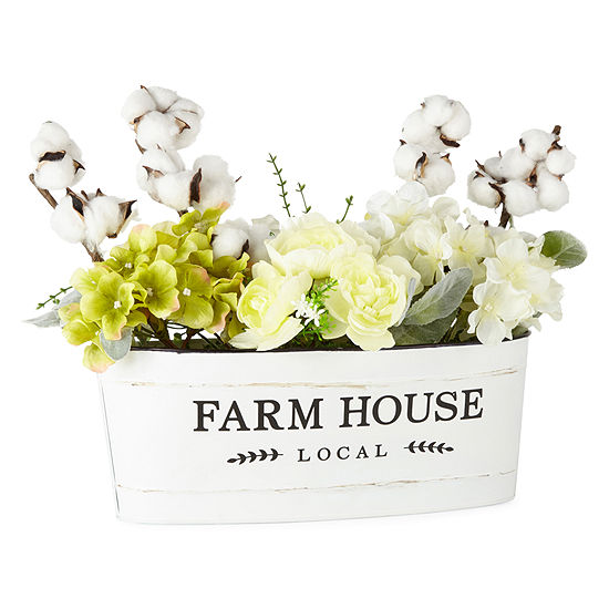 JCPenney Home Floral In Farmhouse Tin Tabletop Decor