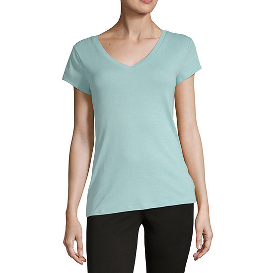 Liz Claiborne Short Sleeve V-Neck Tee - Tall