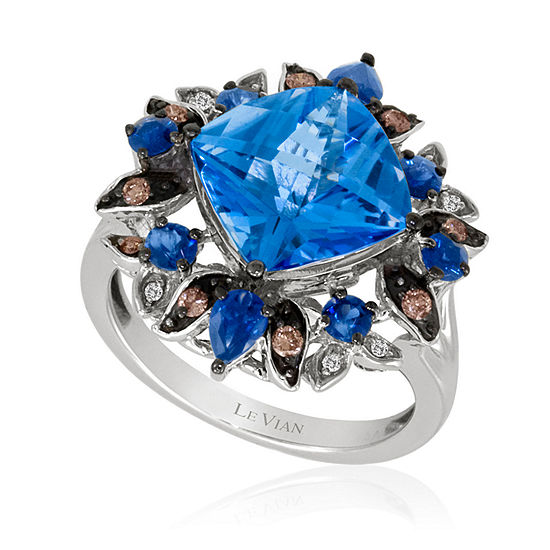 Limited Quantities Le Vian Grand Sample Sale Ring Featuring Ocean Blue Topaz Blueberry Sapphire Chocolate Diamonds Vanilla Diamonds Set In 14k Vanilla Gold
