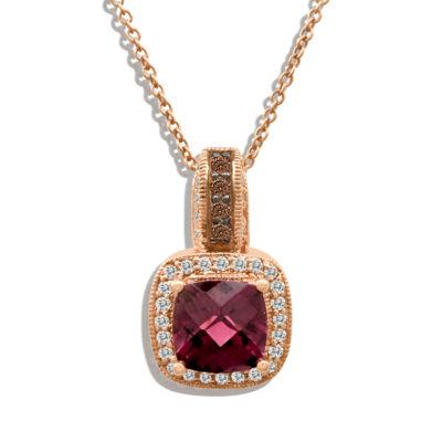 LIMITED QUANTITIES Le Vian Grand Sample Sale™ Raspberry Rhodolite® and Chocolate & Vanilla Diamonds™ Pendant in 14k Strawberry Gold®