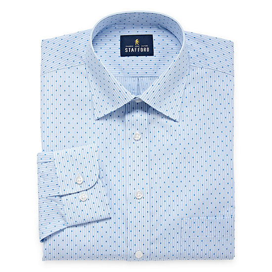 Stafford Mens Travel Easy-Care Broadcloth Stretch Dress Shirt Big and Tall