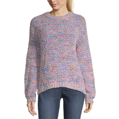 Love More Womens Scoop Neck Long Sleeve Pullover Sweater-Juniors