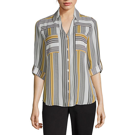 by&by-Juniors Womens V Neck 3/4 Sleeve Blouse