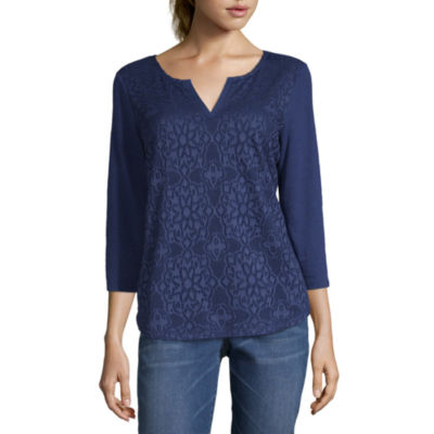 Liz Claiborne-Womens Split Crew Neck 3/4 Sleeve T-Shirt Petite