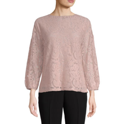 Liz Claiborne Womens Crew Neck 3/4 Sleeve Lace Blouse