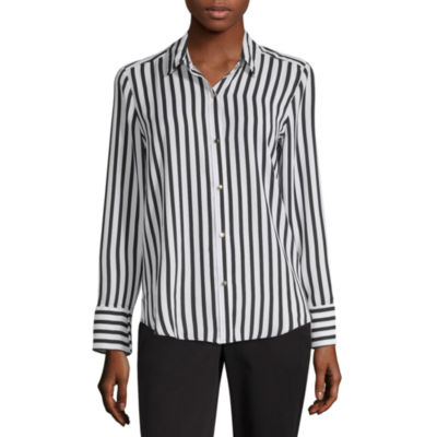Liz Claiborne Secret Garden Womens Long Sleeve Button-Front Shirt