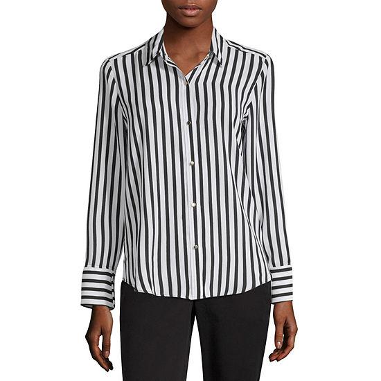 8d52beee Liz Claiborne Secret Garden Womens Long Sleeve Button-Front Shirt - JCPenney