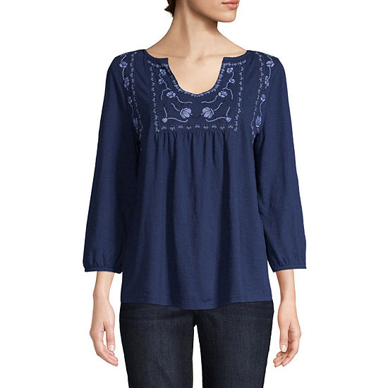 St Johns Bay Womens Split Crew Neck 3 4 Sleeve Embroidered Peasant Top