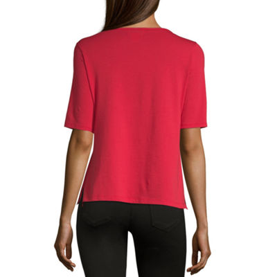Liz Claiborne-Womens Boat Neck Elbow Sleeve T-Shirt