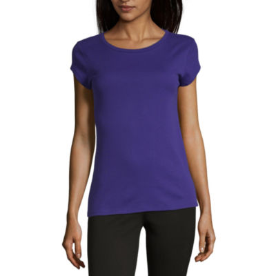 Liz Claiborne Short Sleeve Round Neck T-Shirt-Womens