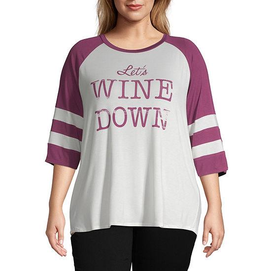 a.n.a 3/4 Raglan Sleeve Graphic T-Shirt - Plus