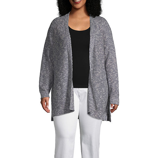 Boutique + Womens Long Sleeve Open Front Cardigan-Plus