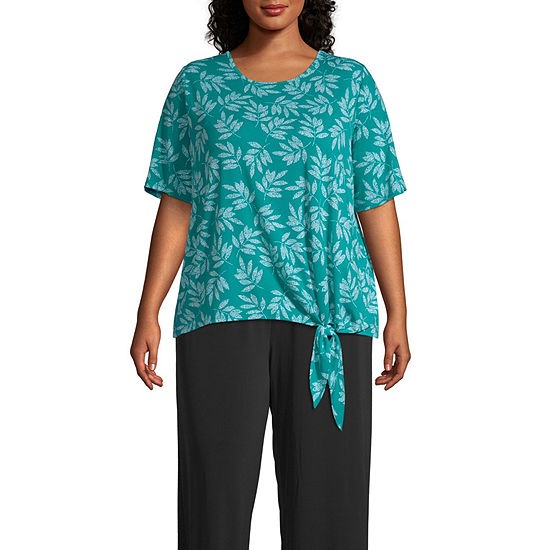 east 5th Womens Scoop Neck Elbow Sleeve Blouse-Plus