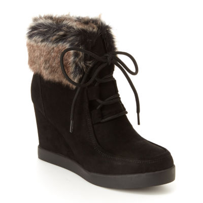 Unionbay Womens Fierce Booties Wedge Heel Lace-up