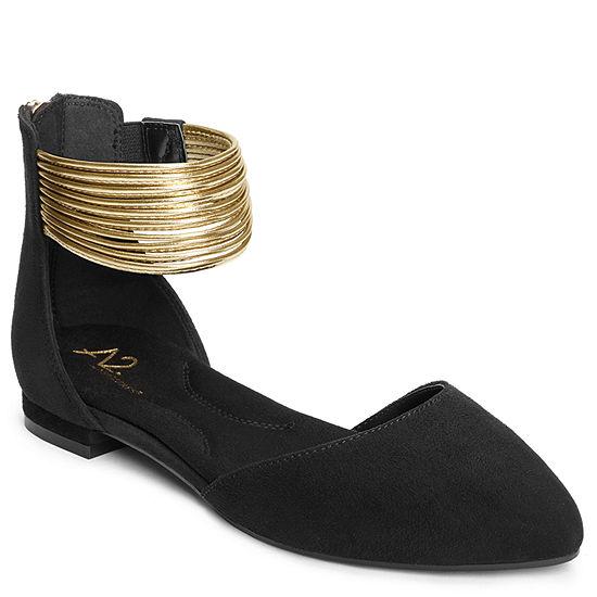 A2 by Aerosoles Womens Girl Next Door Zip Pointed Toe Ballet Flats
