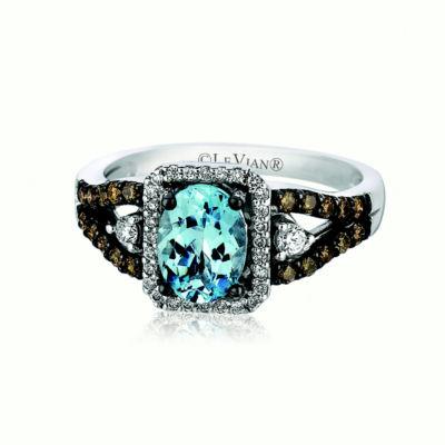 LIMITED QUANTITIES Le Vian Grand Sample Sale™ Ring featuring Sea Blue Aquamarine®, Vanilla Diamonds®, Chocolate Diamonds® set in 14K Vanilla Gold®