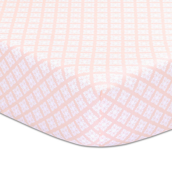 The Peanut Shell Rose Tile Fitted Crib Sheet
