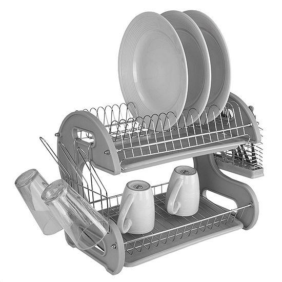 Home Basics S Shape 2 Tier Dish Drainer