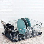 Home Basics 3 Piece Chrome Plated Steel and Plastic Dish Rack