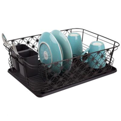 Home Basics 3 Piece Decorative Wire Steel Dish Rack