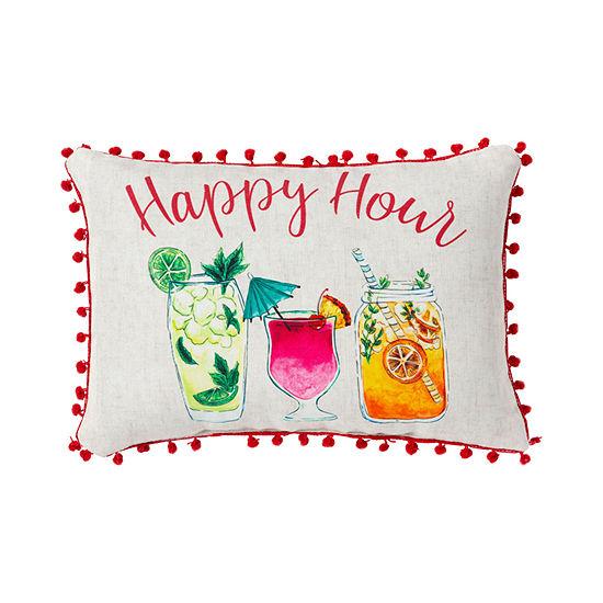Happy Hour Pompom Outdoor Pillow