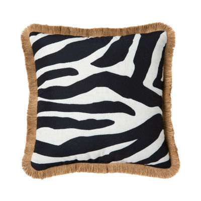Zebra Fringe Outdoor Pillow Square