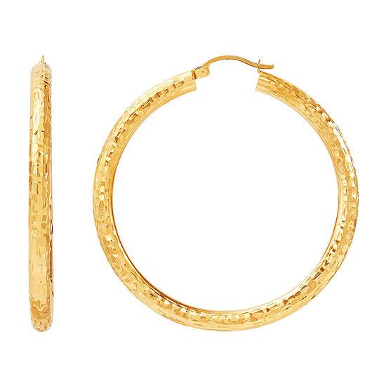 6K Gold 50mm Round Hoop Earrings