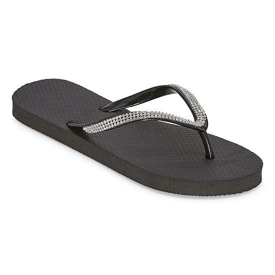 Mixit Womens Rhinestone Flip-Flops