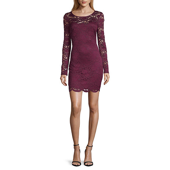 by&by-Juniors Long Sleeve Bodycon Dress