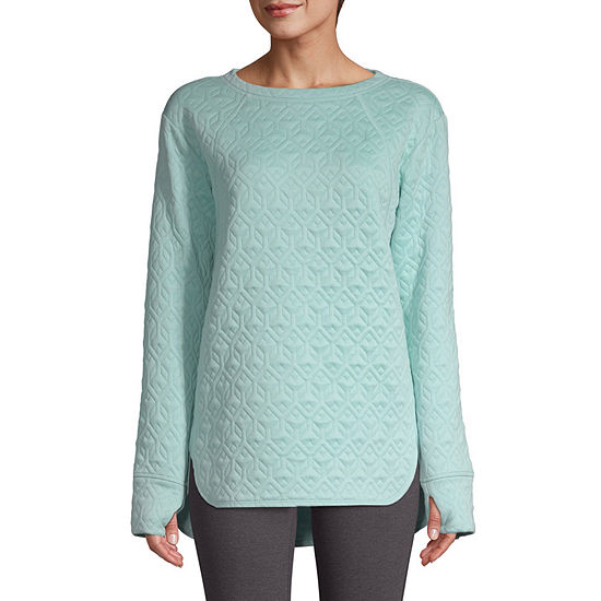 St. John's Bay Active Womens Round Neck Long Sleeve Tunic Top