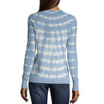 a.n.a Womens Crew Neck Long Sleeve Tie Dye Pullover Sweater
