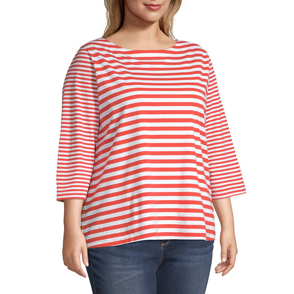 St. John's Bay Plus Classic-Womens Boat Neck 3/4 Sleeve T-Shirt
