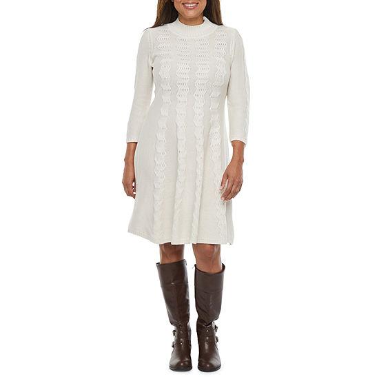 Studio 1-Petite 3/4 Sleeve Sweater Dress