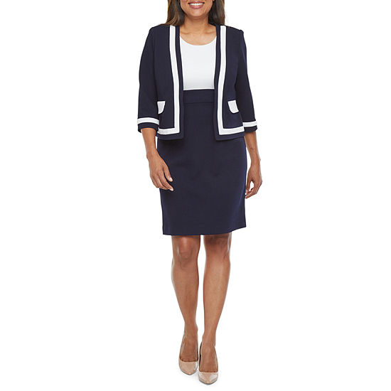 Studio 1 3/4 Sleeve Jacket Dress -Petite