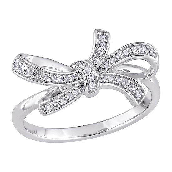Womens 1/6 CT. T.W. Genuine White Diamond 10K White Gold Cocktail Ring