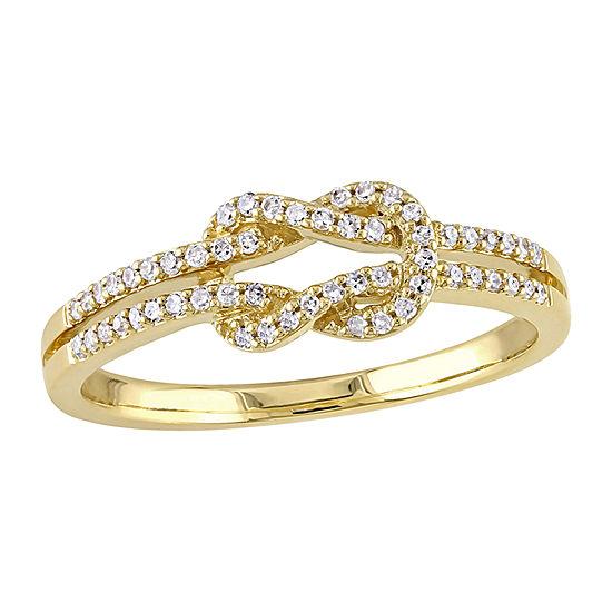 Womens 1/6 CT. T.W. Genuine White Diamond 14K Gold Cocktail Ring
